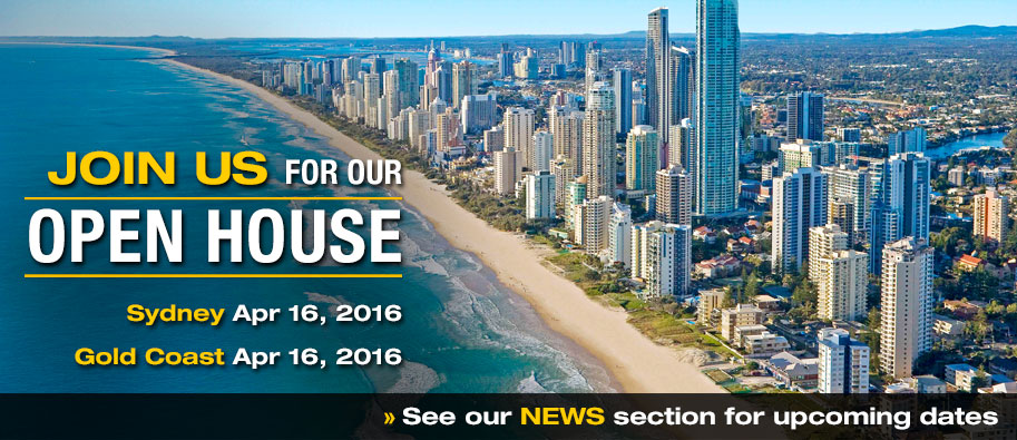 Join us for our Open House in Sydney and Gold Coast, Australia.