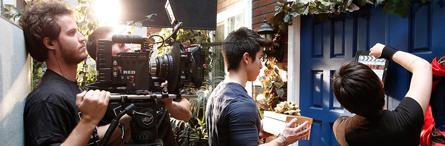 diploma of screen media filmmaking nyfa  film school student shoots scene on panaflex camera